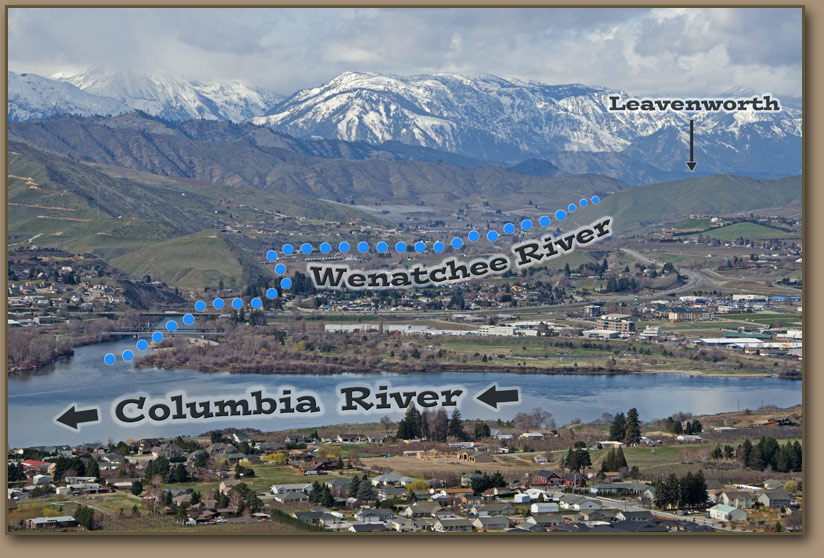 Wentachee River, Columbia River confluence from East Wenatchee, Washington.