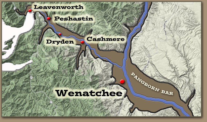 Approximate limits of flooding during Ice Age Flood events near the site of Wenatchee, WA.